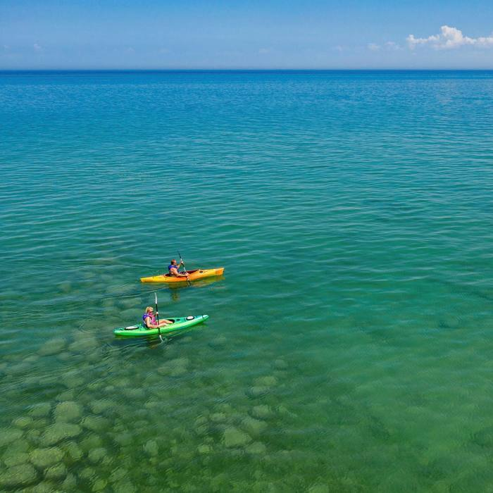 Kayakers on Lake Huron which, together with Lakes Superior, Michigan, Erie and Ontario, forms the largest freshwater system on the planet