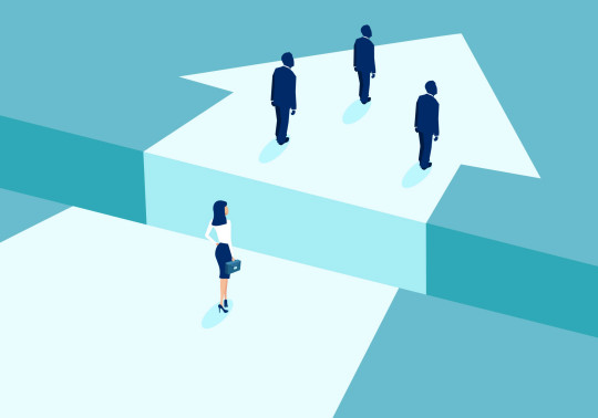 Gender discrimination in corporate culture concept. Vector of businesswoman lagging behind businessmen and divided by gap.
