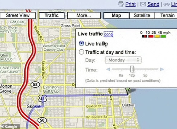 An early version of traffic conditions in Maps for desktop.Google Maps introduced real-time info on traffic conditions for more than 30 US cities two years after launching