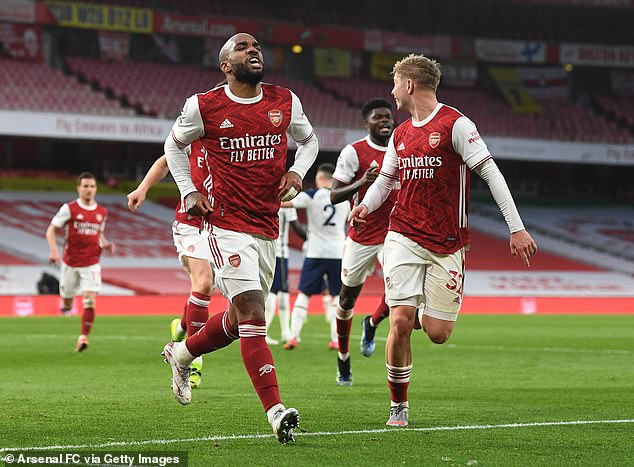 Arsenal won the derby without their captain with Alexandre Lacazette (left) scoring the winner