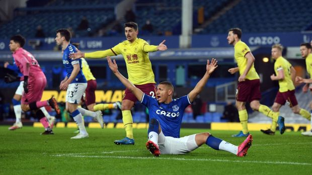 Everton's Brazilian striker Richarlison appeals for a foul during his side's 2-1 defeat to Burnley. Photograph: Gareth Copley/Getty/AFP