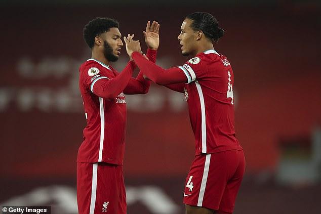 Virgil van Dijk (right) and Joe Gomez (left) are 'unlikely' to play in Euro 2020, says Jurgen Klopp