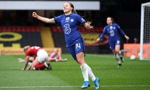 Fran Kirby wheels away to celebrate Chelsea's sixth goal against Bristol City at Watford