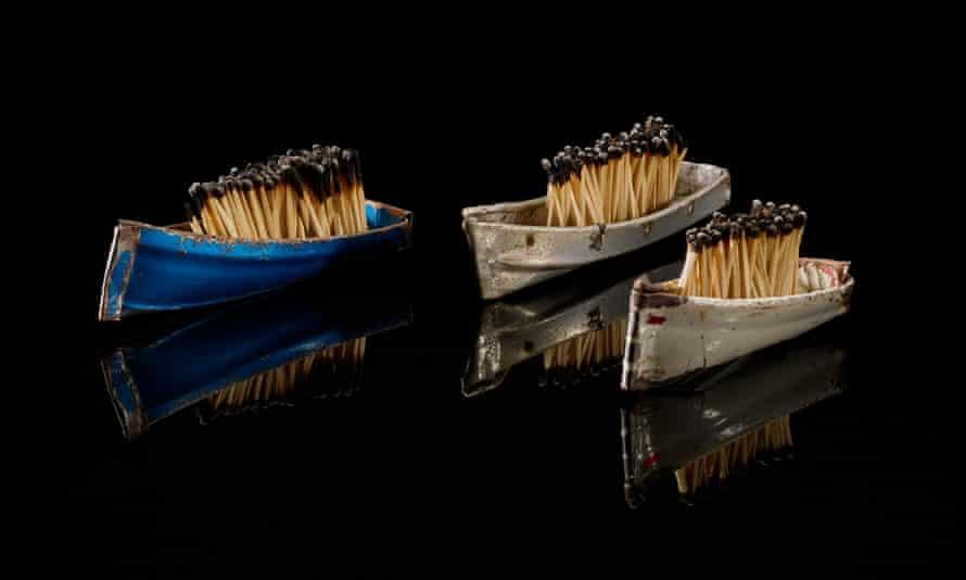 Three of the miniature boats