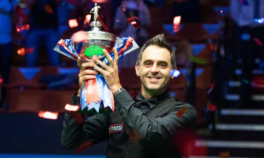 Ronnie O'Sullivan celebrates winning the 2020 World Snooker Championship