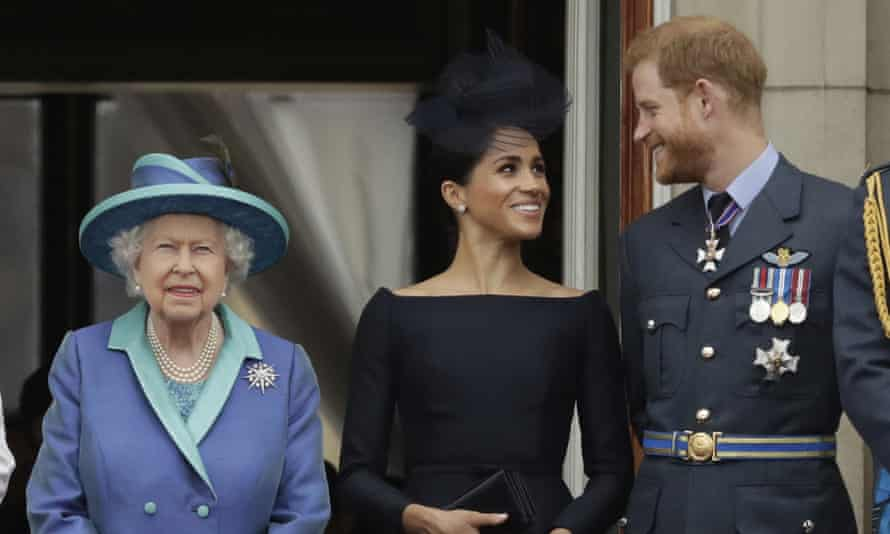 The Queen with Meghan Markle and Prince Harry in January 2018.