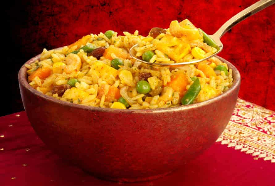 Combine frozen assorted vegetables with basmati rice for a delicious microwave biryani.