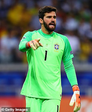 Liverpool goalkeeper Alisson Becker in the colours of national team Brazil