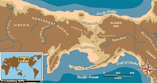 Researchers had proposed that the Jomon spread along the northern rim of the Pacific and across a land bridge over the Bering Strait (pictured) to America's northwest coastline — a theory that the latest study refutes. Instead, it is proposed that they came from Siberia