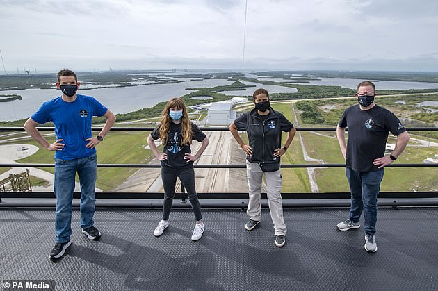 Jared Isaacman, from left to right, Hayley Arceneaux, Sian Proctor and Chris Sembroski form the Inspiration4 crew