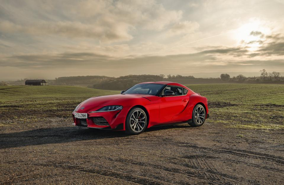 Front three-quarter view of the 2021 Toyota GR Supra 2.0