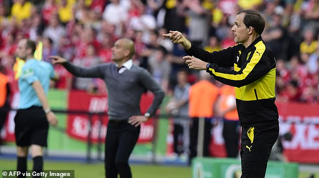 The two bosses hard at work on the touchline as Bayern play Dortmund in the 2016 cup final