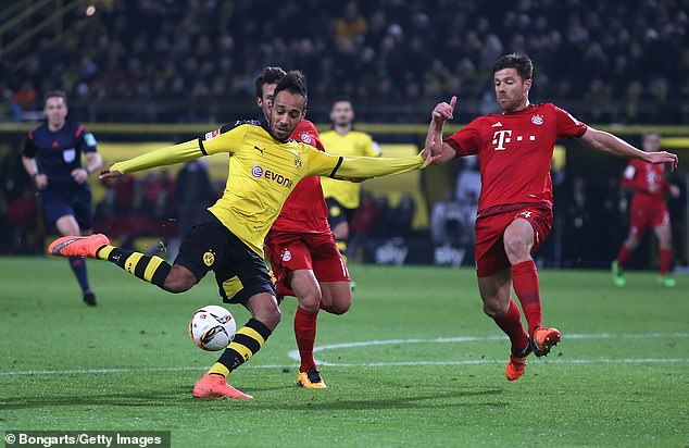 Dortmund striker Pierre-Emerick Aubameyang fires in a shot during the goalless draw against Bayern in March 2016