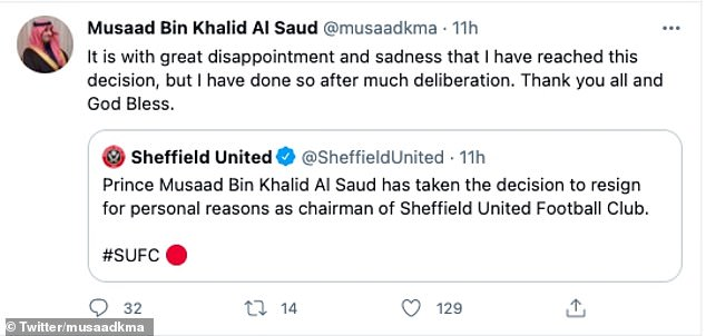 Sheffield United announced the news of their chairman's resignation on Friday evening