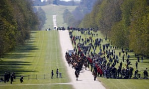 Members of The Kings Troop Royal Horse Artillery arrive at the Long Walk on the day of the funeral of Britain's Prince Philip.