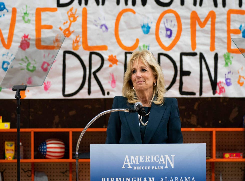First Lady Jill Biden speaks during a visit to the YWCA Central Birmingham in Alabama