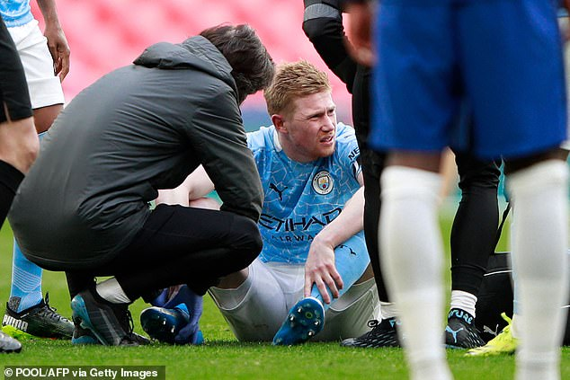 Kevin De Bruyne is forced off with an ankle injury during ...