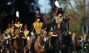 Members of The Kings Troop Royal Horse Artillery ahead of the funeral of Prince Philip.