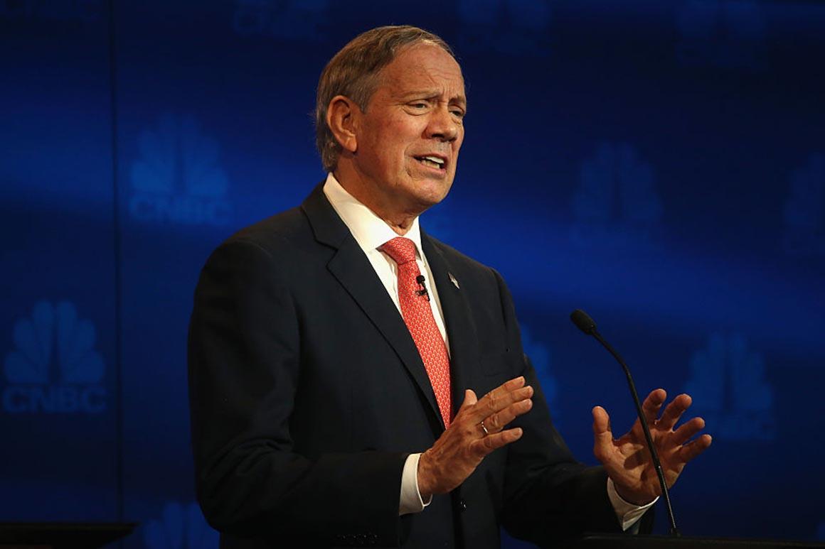 Republican presidential candidate George Pataki speaks during the CNBC Republican Presidential Debate.