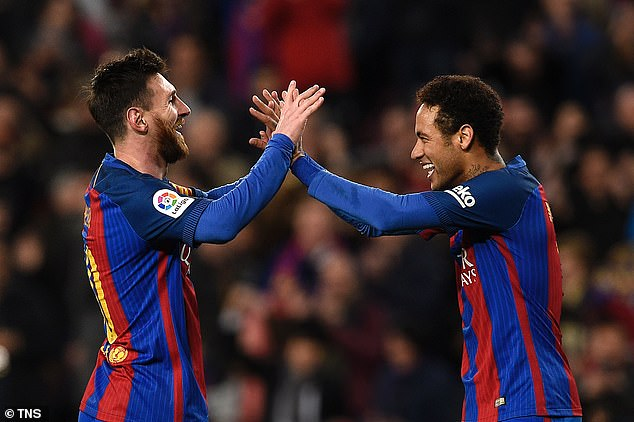 A move back to the Camp Nou would see Neymar (right) reunite with Lionel Messi (left)