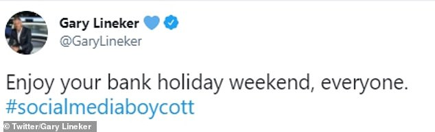 Match of the Day host Gary Lineker posted this message as the world of sport prepares to unite for a social media blackout to demand action against discrimination