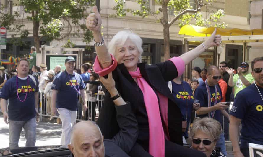 Olympia Dukakis acts as a celebrity grand marshal for the 2011 Gay Pride parade in San Francisco.