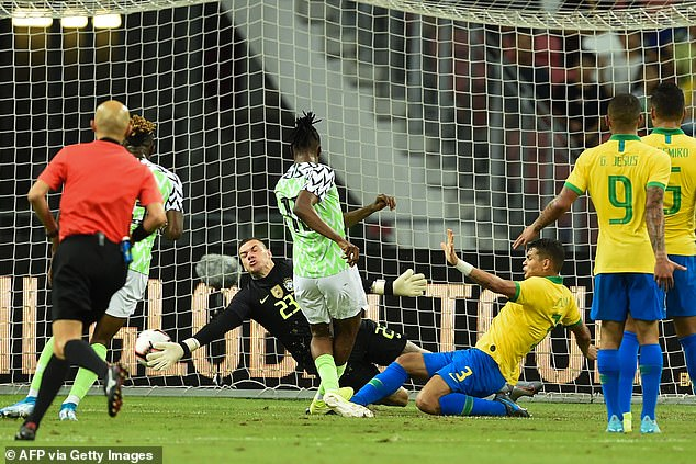 One of Aribo's two goals for Nigeria came in a 1-1 friendly draw against Brazil in October 2019