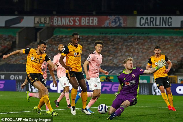 Ramsdale comes out to make a save from Romain Saiss of Wolves during last month's match