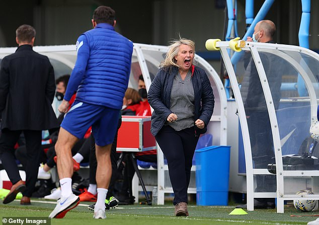 Hayes' (right) incredible Chelsea side are also chasing a historic quadruple this season