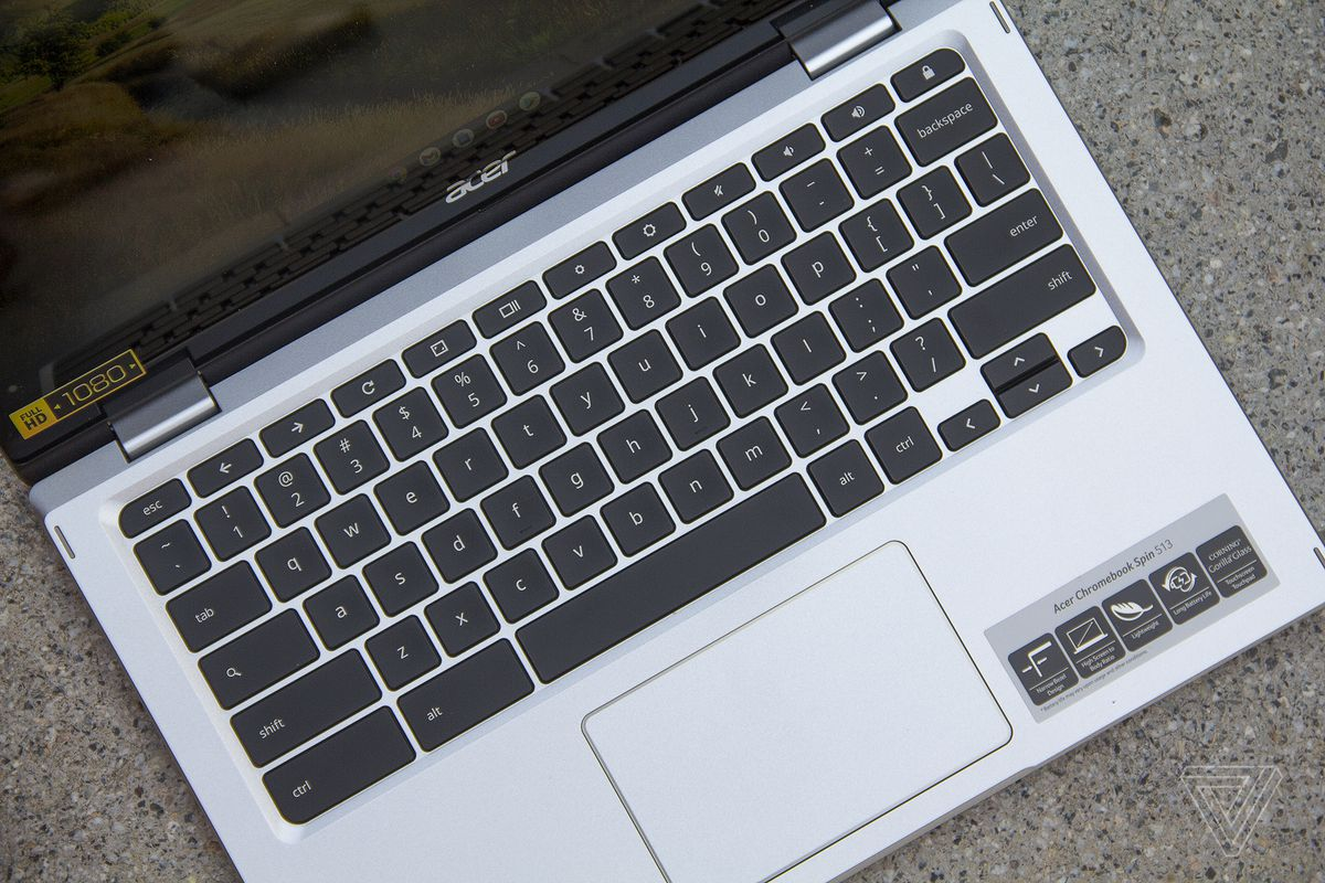 The Acer Chromebook Spin 513 keyboard deck seen from above, angled slightly to the right.