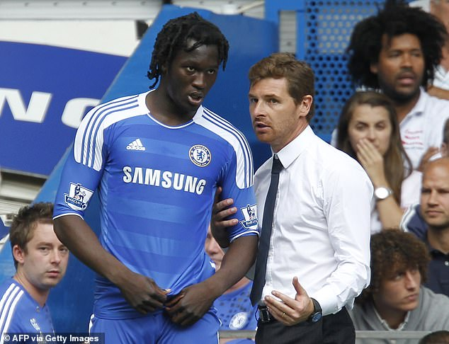 Chelsea have targeted re-signing Lukaku who played just 15 games for the Blues between 2011 and 2014. He is pictured with then Chelsea manager Andre Villas-Boas in 2011