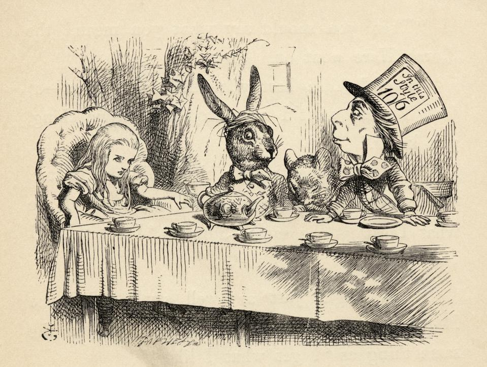 Alice at the Mad Hatter's Tea Party Illustration by John Tenniel from the book Alices's Adventures in Wonderland by Lewis Carroll published 1891...