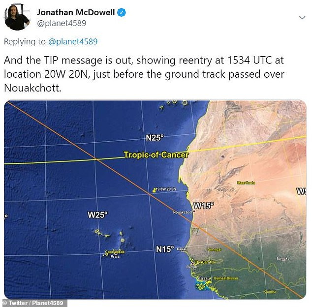 The core stage of the Long March 5B rocket was sent into space on May 5 and fell to Earth a few days later, just off the coast of West Africa. Its descent was confirmed by the 18th Space Control Squadron, a unit of the US Air Force that tracks space debris in Earth's orbit