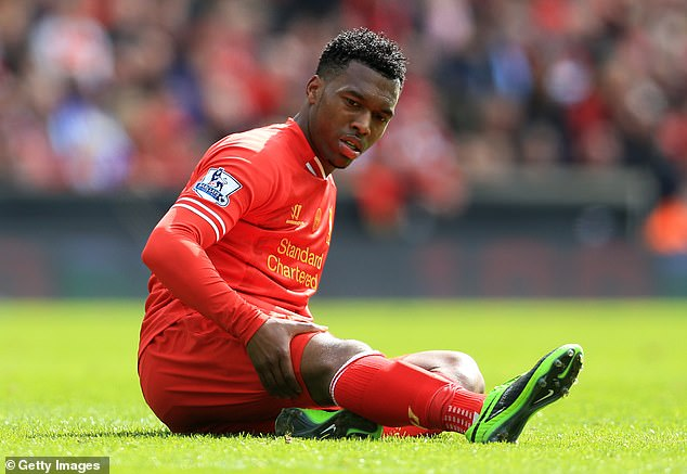 Daniel Sturridge sits injured on the Anfield turf in 2014, sadly an all-too-familiar sight