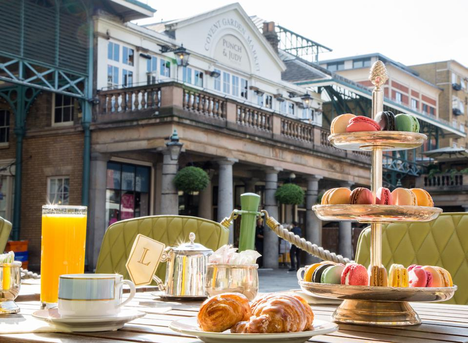 macarons on a table outside