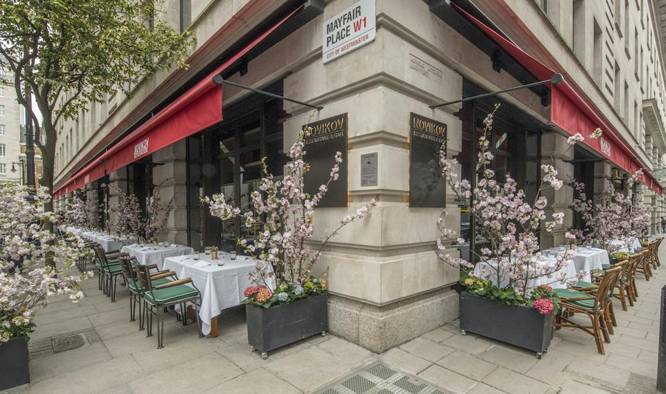 outdoor dining tables on street