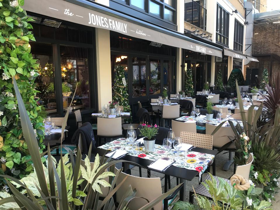 outdoor terrace, tables and plants