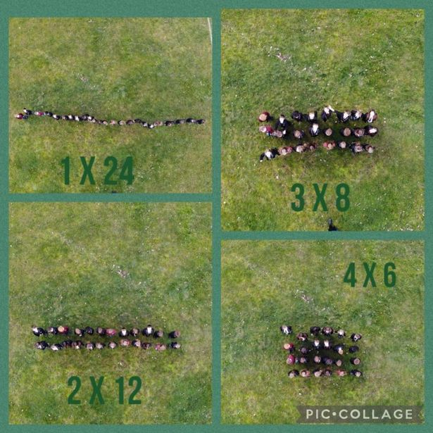 Footage of the maths class taken with the drone