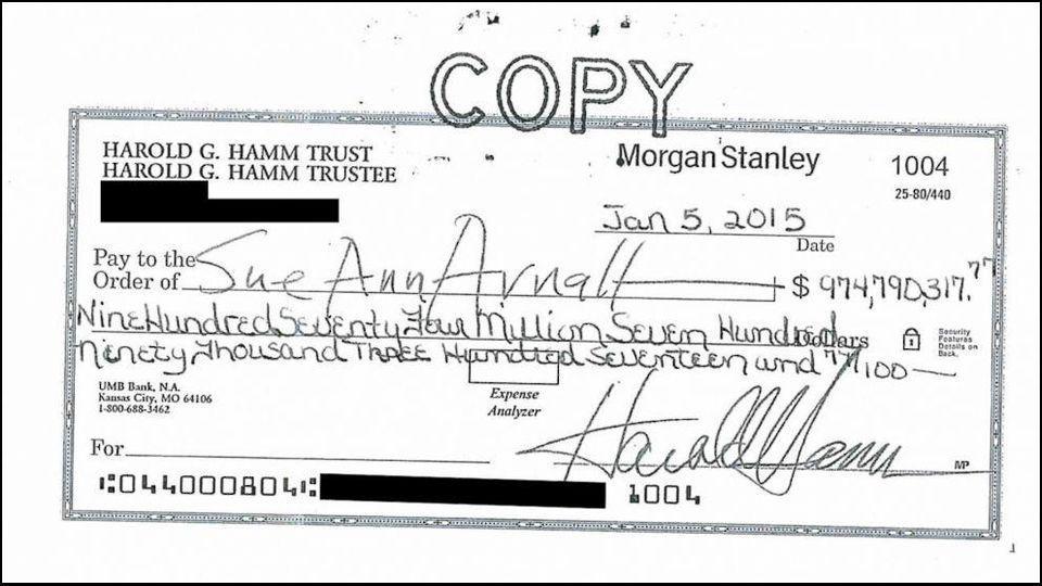 Harold Hamm divorce check
