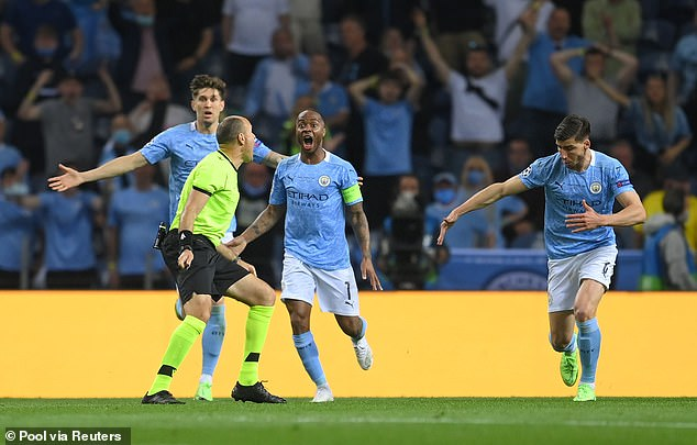 City's centre-back pairing John Stones (left) and Ruben Dias (right) were not as solid as usual