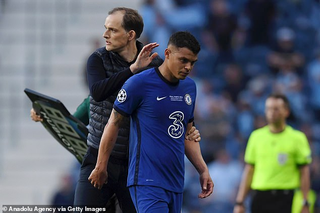 Veteran Blues defender Thiago Silva was forced off before the break with a groin problem