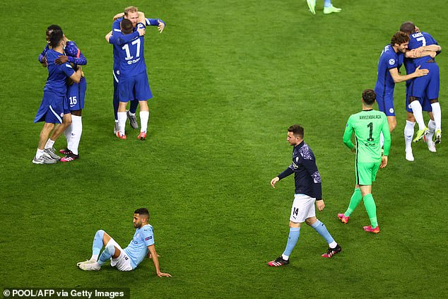 City winger Riyad Mahrez (bottom left) was unusually subdued throughout the entire match