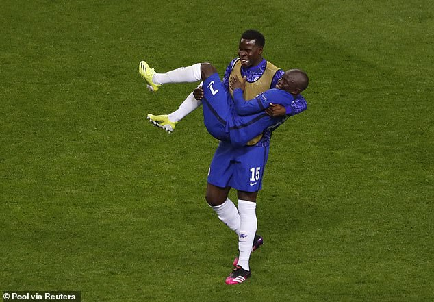 Relentless defensive midfielder N'Golo Kante (bottom) gave a man-of-the-match performance