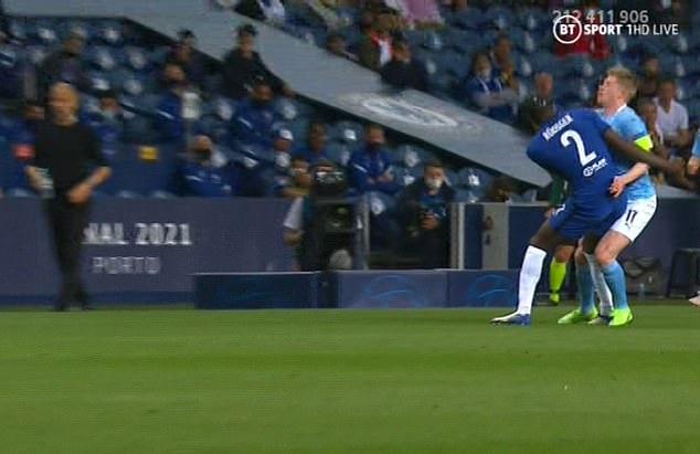 Kevin de Bruyne was blocked by Chelsea defender Antonio Rudiger in the second half