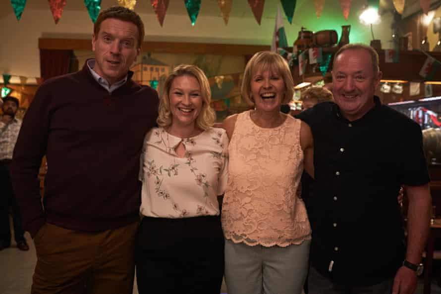 Damian Lewis and Joanna Page with the real Angela and Howard Davies.