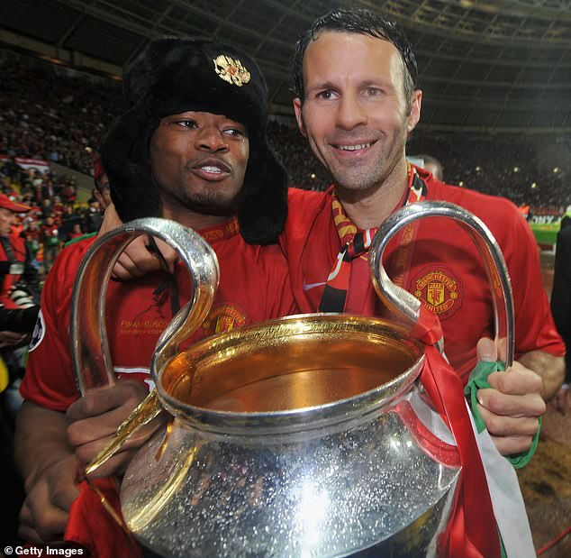 Evra (left) and Ryan Giggs (right) were among the Man United side to win the 2008 crown