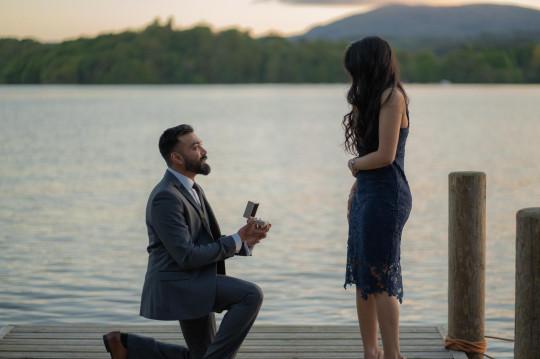 Vik proposing to Rebecca