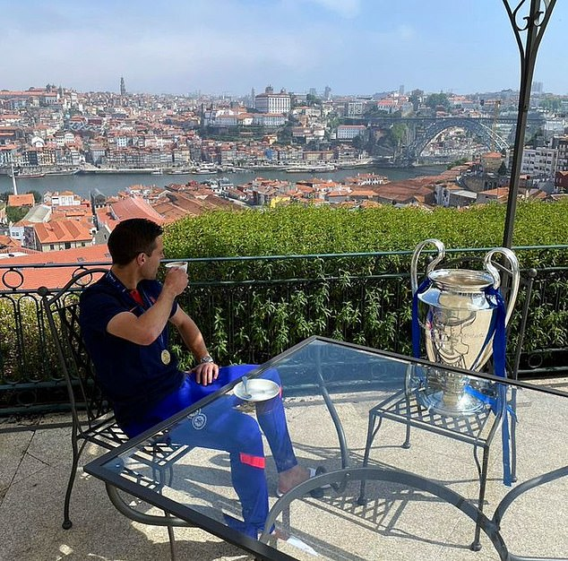 While Azpilicueta was sat alongside the iconic trophy for his morning coffee in Porto