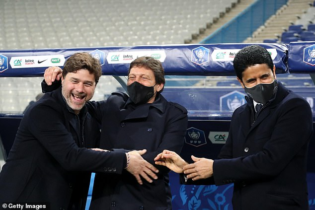 PSG chief Leonardo (centre) will decide on whether or not to grant Pochettino's wish to leave