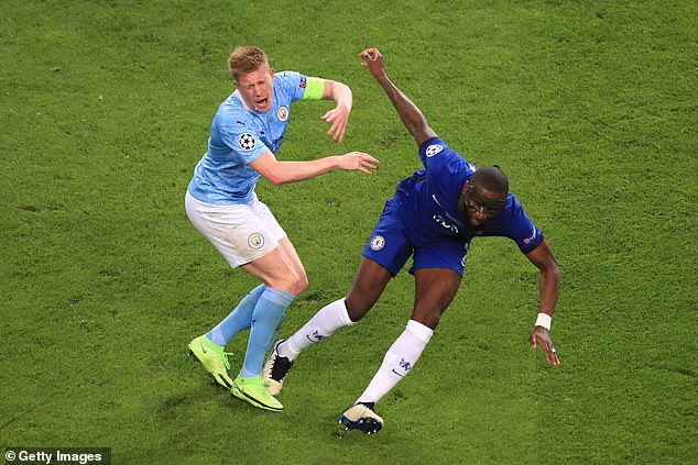Chelsea star Rudiger (right) insisted the tackle on Man City's De Bruyne was not intentional
